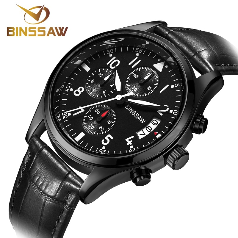 BINSSAW Brand Sports Watches Genuine Leather Waterproof Casual Watch - Men's Watches
