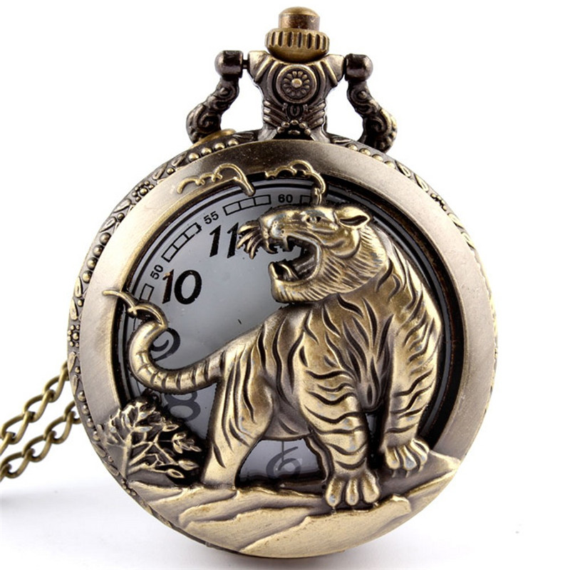 Hot Dropshipping Bronze Tiger Hollow Quartz Pocket Watch Necklace Pendant  Chinese Zodiac 12 Carving Back Womens Men GIfts P251