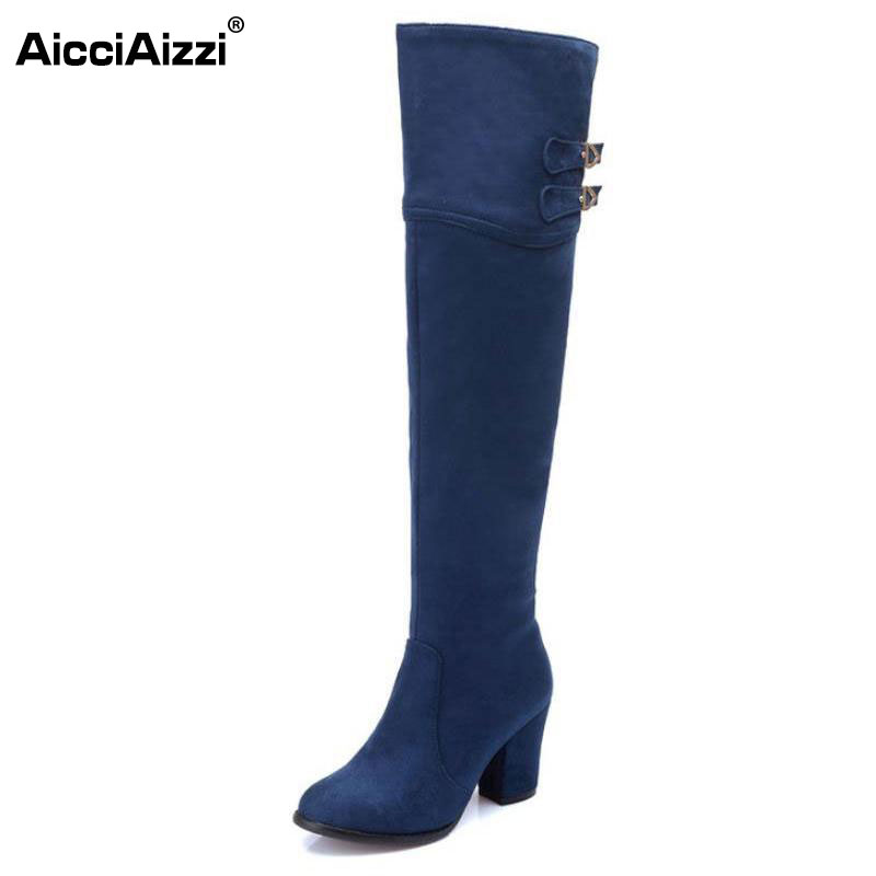 size 32-48 women square high heel over knee boot winter warm fashion british boots knight long botas sexy footwear shoes P21743 enmayer over the knee boots shoes new pu knitting square heel high boots warm snow long boots red brown black knight boots