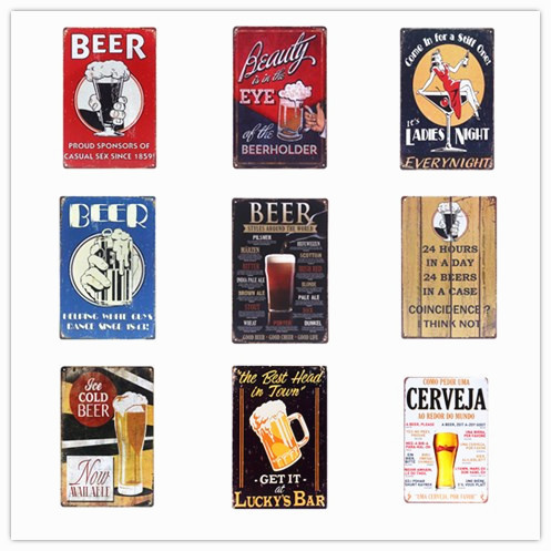 Tiki Bar OPEN Summer BEER Retro Metal Tin Signs Art Plaque Metal Painting Wall Stickers for Home Pub Bar Decor LADYS Night N082