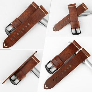 Image 2 - MAIKES bracelet de montre Vintage en cuir marron clair bracelet de montre, avec boucle en acier inoxydable, 20mm 22mm 24mm