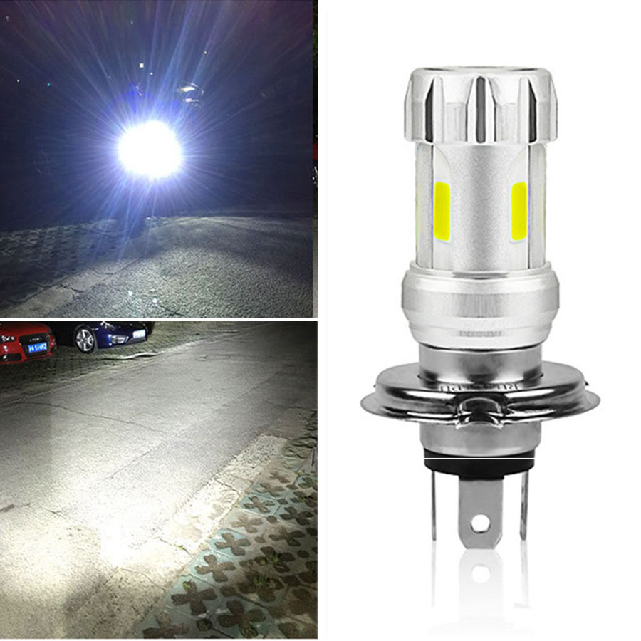 3 Sides Super Bright H4 Led Bulb White 36W LED Motorcycle Headlight COB 6000K  Motorbike Head Lamp