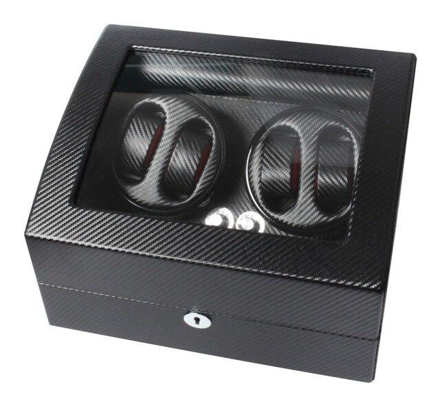 High-end De Fibra De Carbono Do Motor MABUCHI Watch Winder para Armazenamentos de Capacidade para 4 Relógios com 6 Grade caixa de Relógio Automático