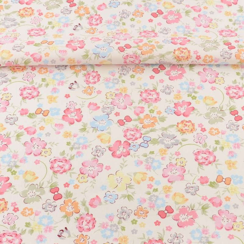 100% Tela de Algodón de Color Rosa Impreso Floral Diseños Textiles Para El Hogar