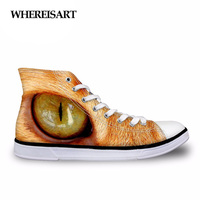 WHEREISART High Top Autumn Women Lace up Shoes Cool Cat Eyes Pattern Casual Canvas Shoes for Women Vulcanize Female Shoes 2017
