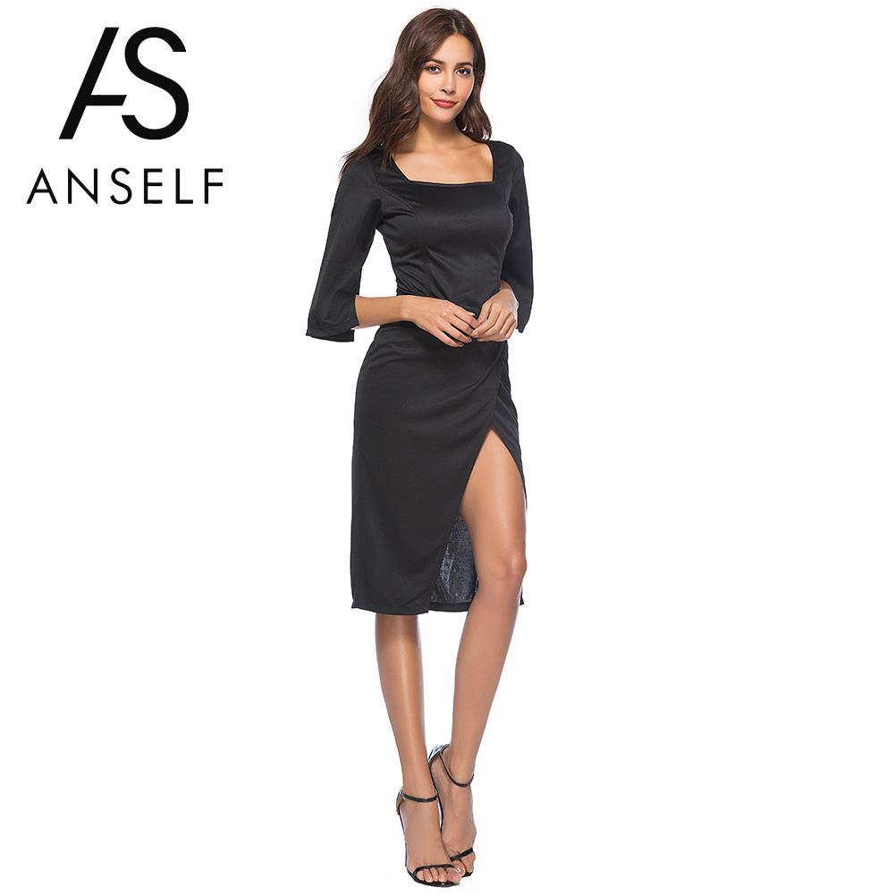 Anself Vintage Women's Black Dress Elegant Solid Square Neck Half Sleeve Summer Dress High Split Bodycon Party Clubwear Dress