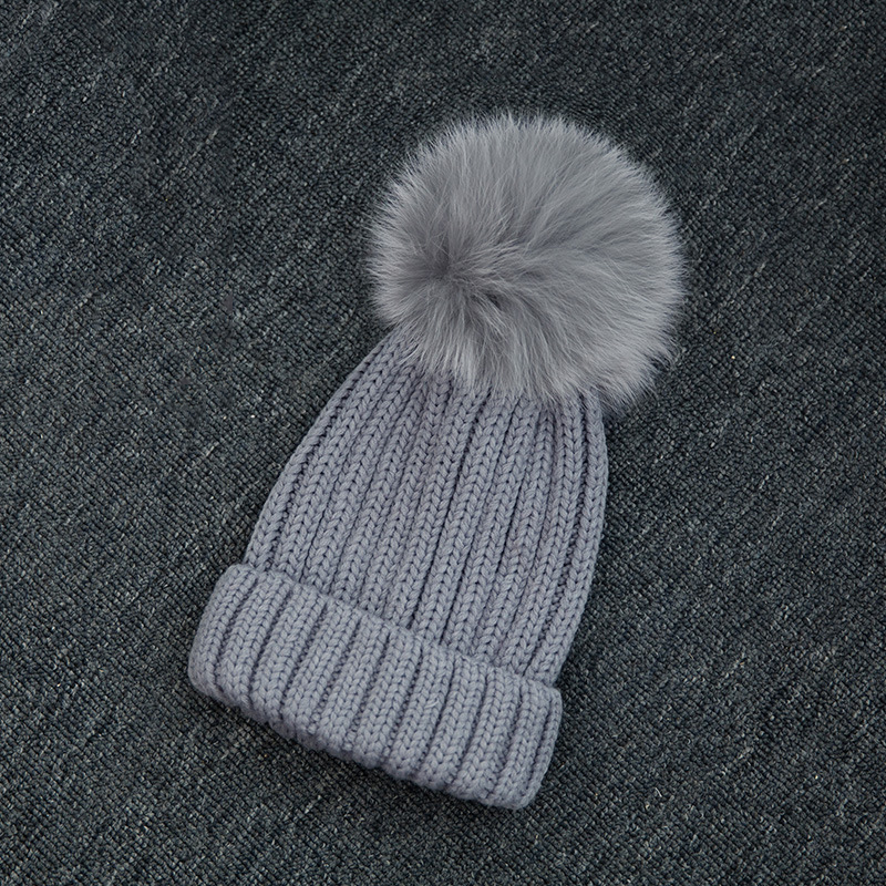 Winter Warm Grey Fox Fur Pom Pom Hat Women Knitted Hats For Women Beanies  Balls-in Skullies   Beanies from Apparel Accessories on Aliexpress.com  7a26234c63b
