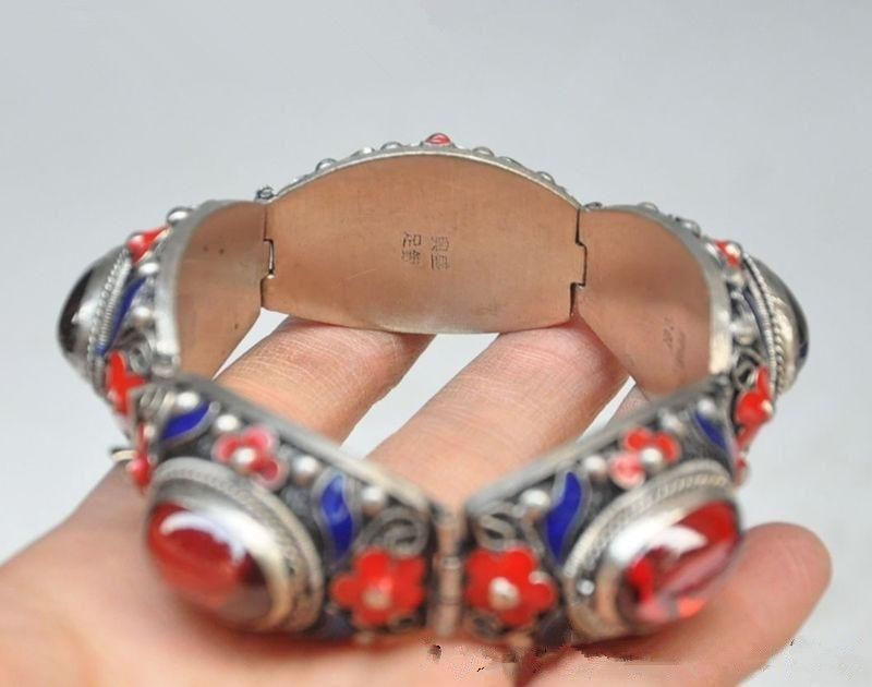 fast shipping>7.88 inch/Chinese ancient palace in Tibet silver cloisonne inlaid ruby bracelet