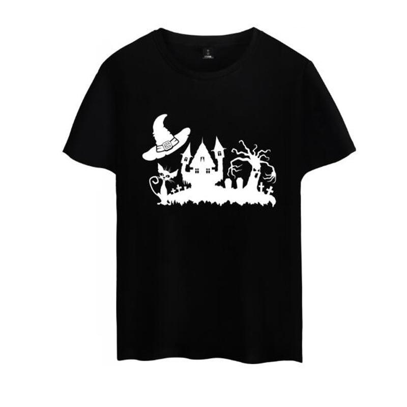 Harajuku T Shirt Women For Lady Girl Top Halloween Tshirt Female O-Neck Cotton T-Shirt Short Sleeve Funny Tee Shirt Femme