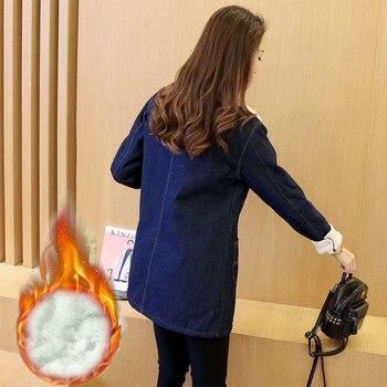 Han edition 2017 fashion women tops Denim fabrics of high thermal lambs wool  women coat Long sleeve nirvana trench coat xf010 2