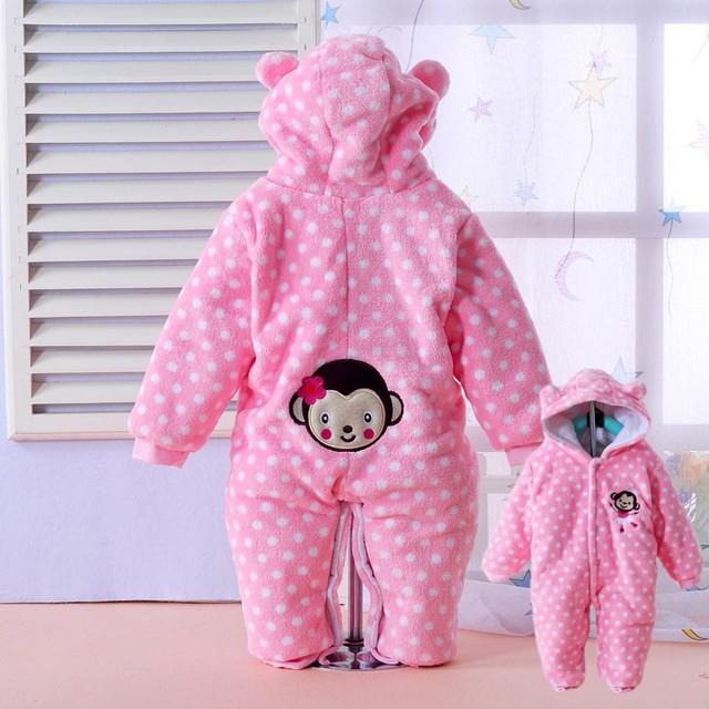2015 designer de animais pijama onesie flanela animal do bebê romper inverno bebê recém-nascido-snowsuit