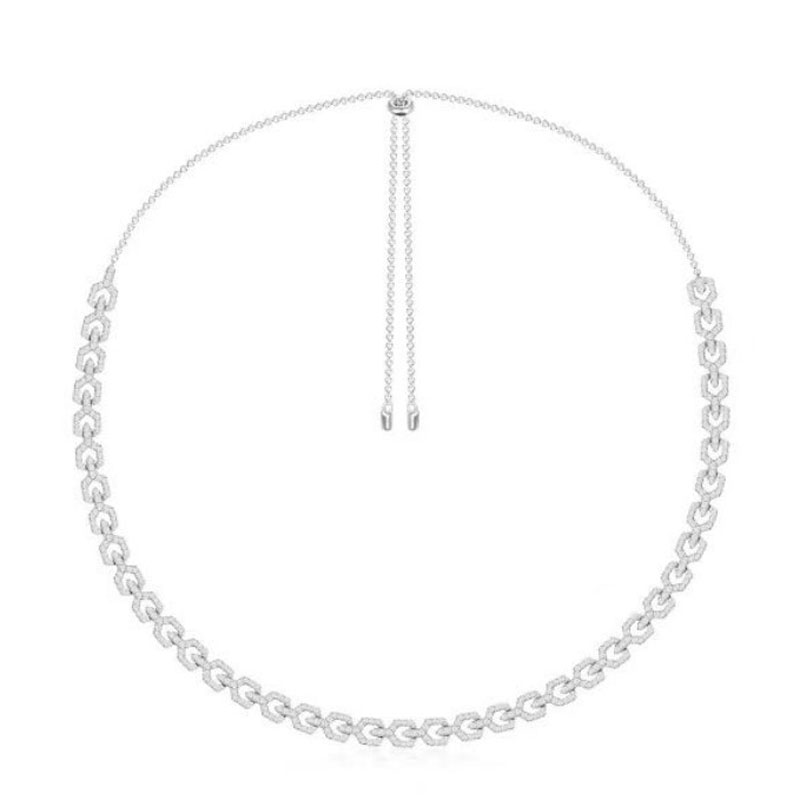 SLJELY 925 Sterling Silver Full Micro Cubic Zirconia Geometric Chain Necklace Adjustable Women Luxury Brand Design