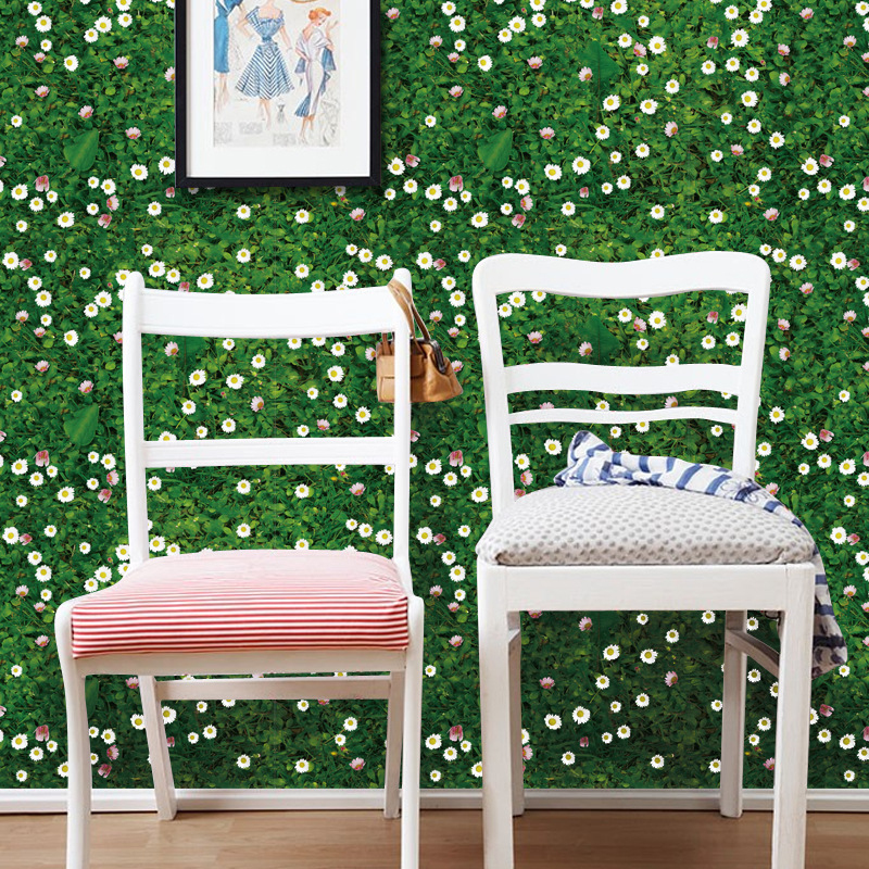 Self Adhesive 3D Green Meadow Flowers Wallpaper PVC Wall Sticker Wall Mural Floor living Room Bedroom Kids Room Decoration free shipping marble texture parquet flooring 3d floor home decoration self adhesive mural baby room bedroom wallpaper mural
