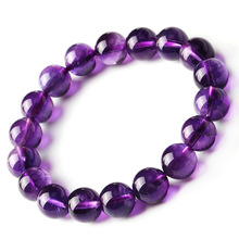 Natural Energy Stones Amethyst Round Beads Bracelets Purple Crystal For Women Fine Jewelry fine lavender purple natural crystal bracelets fox pendant evil spirits help marriage lucky for women girl gift bracelet jewelry