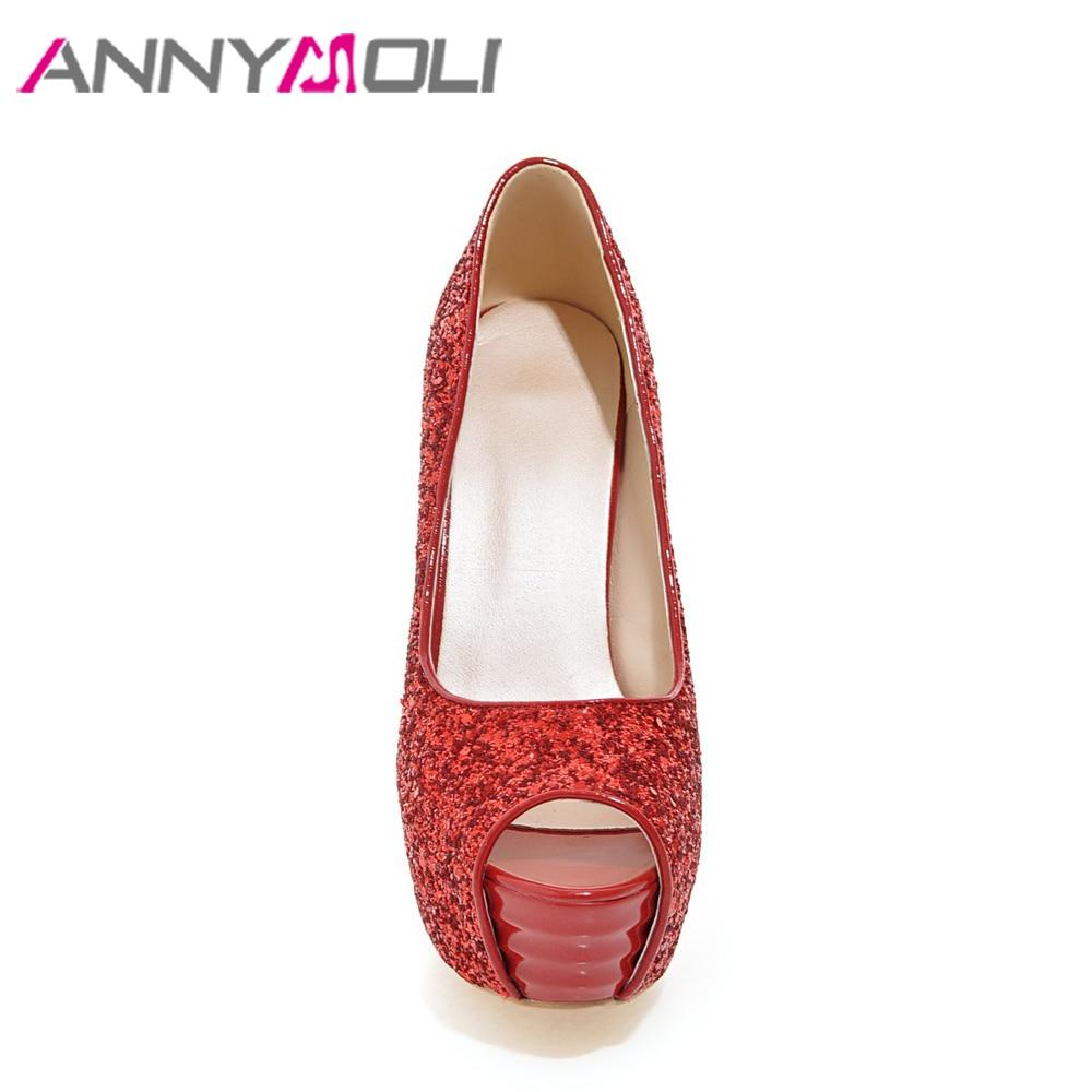 ANNYMOLI Women Pumps Platform High Heels 14cm Party Shoes Peep Toe Extreme High Heels Glitter Red Bridal Wedding Shoes Sliver