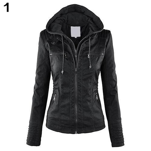패션 여성 컨버터블 칼라 가짜 가죽 코트 분리 후드 재킷