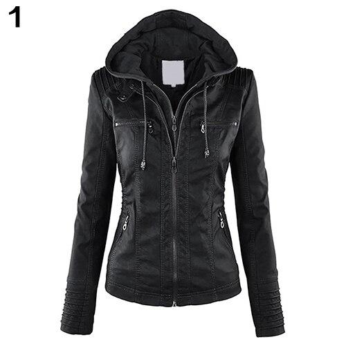 Mode Frauen Cabrio Kragen Faux Leder Abnehmbare Kapuze Jacke