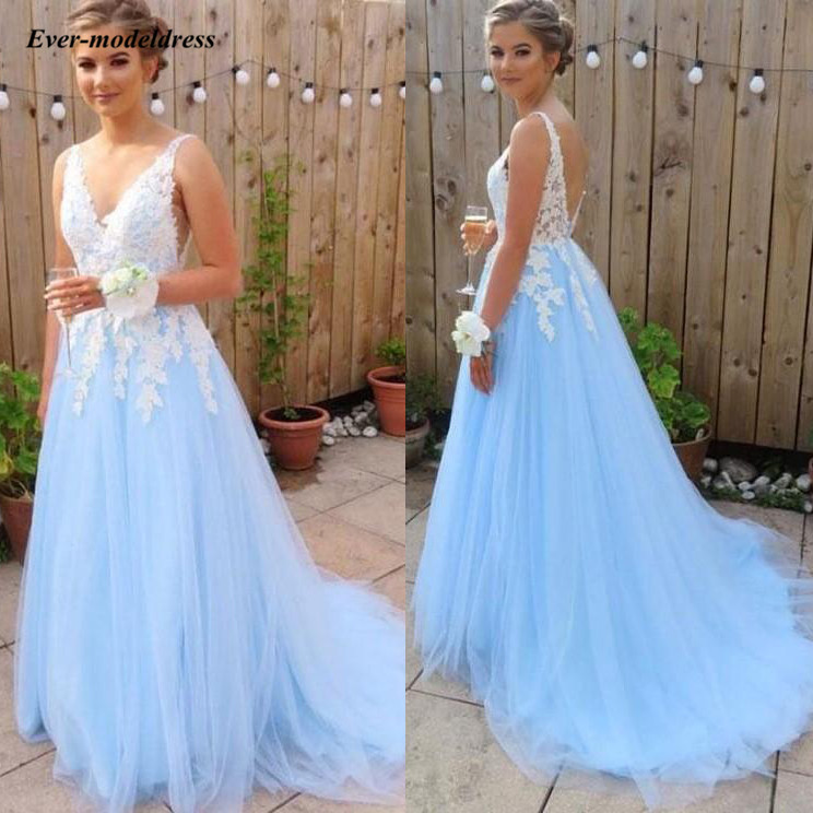 Backless Long   Prom     Dresses   2019 Ivory Lace Appliques Blue Tulle A-Line Sweep Train Formal Party Gowns Vestidos De Festa Cheap