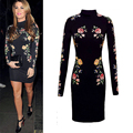 2015 New Women Spring Spring Plus Size Tight Long Sleeve Slim Vintage Floral Printting High-necked Bottoming Dress
