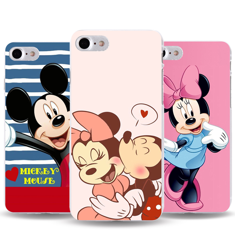 For iphone Phone Case For Apple iphone 4 4s 5 5s 5c 6 6S 6 plus 7 7plus SE cover Mickey and Minnie transparent PC Hard Cover