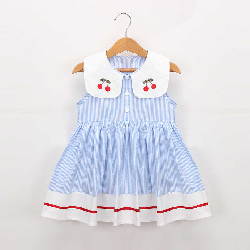 Hurave embroidery cherry Turn-down Collar Sleeveless striped dress cotton infant princess toddler Baby Girls Clothes dresses