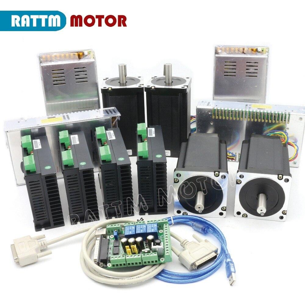 RU/EU/Germania Consegna!! NUOVO 4 Assi (Dul albero) NEMA34 1600 oz-in coppia motore passo-passo Kit CNC per le Grandi dimensioni Router Mill