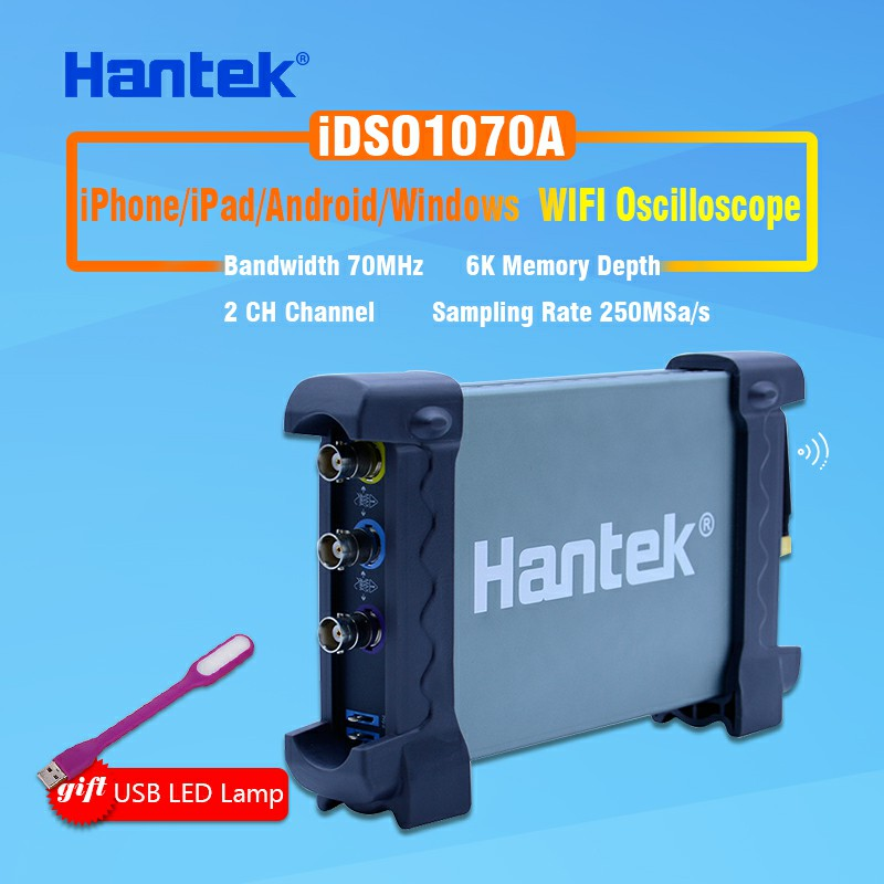 2CH 70MHz digital oscilloscope Hantek iDSO1070A iPhone/iPad/Android/Windows Oscilloscope WIFI Communication+Gift