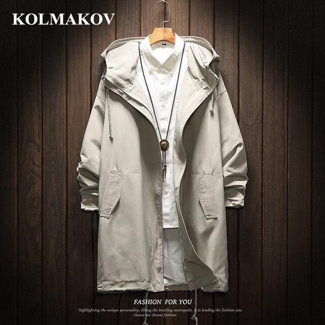 KOLMAKOV Men Long Trench Coat Jacket Polyester Black Trench Coats Mens Spring Jackets and Coats 2019 Jackets for men Big Size