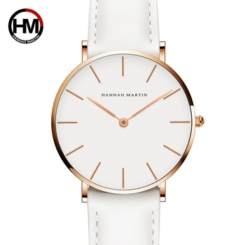Dropshipping Japan Quartz Simple Women Fashion Watch White Leather Strap Ladies Wrist Watches Brand Waterproof Wristwatch 36mm 1