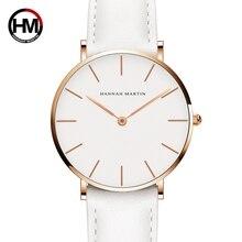 Дропшиппинг Японии Кварц Простой Для женщин модные часы белый кожаный ремешок женские наручные часы бренда Водонепроницаемый часы наручные 36 мм