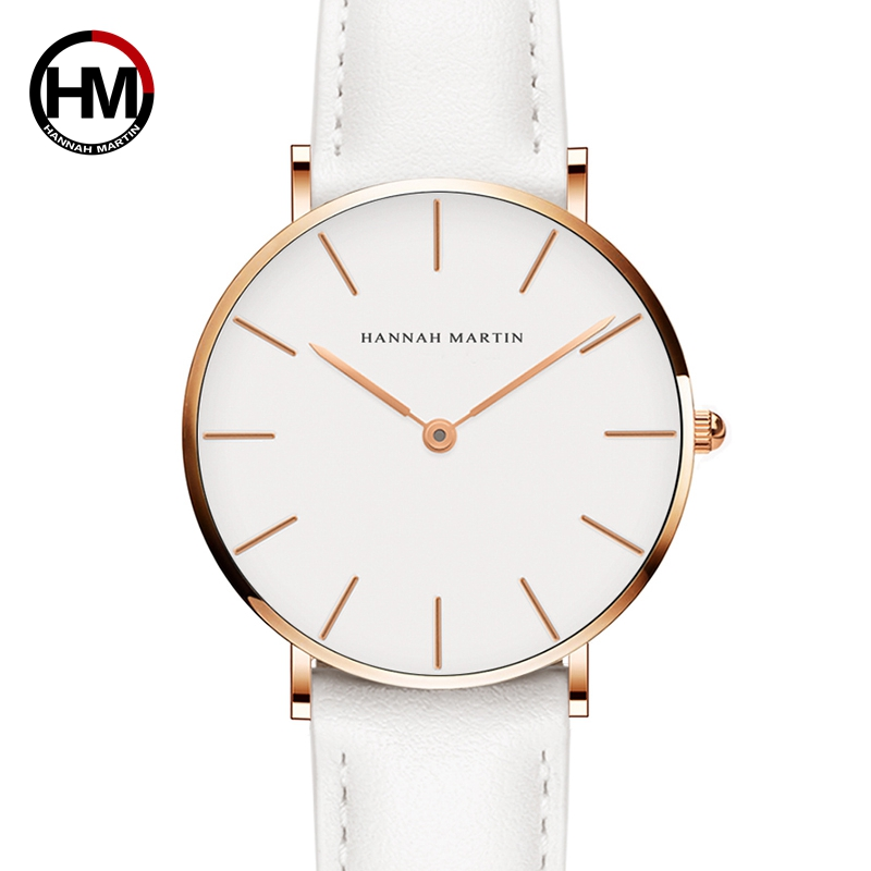 Dropshipping Japan Quartz Simple Women Fashion Watch White Leather Strap Ladies