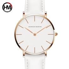 Дропшиппинг Японии Кварц Простой Для женщин модные часы белый кожаный ремешок женские наручные Часы бренд Водонепроницаемый часы наручные 36 мм