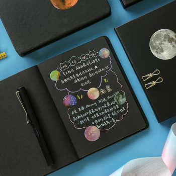 Starry Sky Notebook Stationery Black Blank Paper Planner Sketchbook Vintage Diary Book Journal School Office Supply - DISCOUNT ITEM  30 OFF Education & Office Supplies