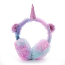Высокое качество милые наушники детские милые утолщенные Плюшевые Единорог ухо теплые наушники Oreille новые наушники Oorwarmers Dames