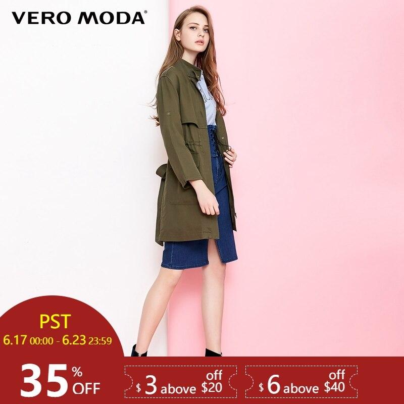 Vero Moda Drawstring Cinched Waist Medium Length   Trench   Coat|318321543