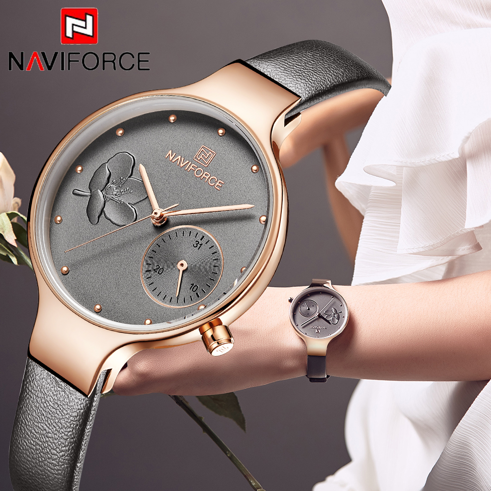 NAVIFORCE Women Watches Fashion Brand Quartz Watch Ladies Leather Watchband High Quality Waterproof Simple Clock Gift for Wife