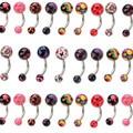 120 pçs/set Punk Duplo Bolas Coloridas de Acrílico Umbigo Anéis Bar Piercing No Umbigo Piercings de Aço Inoxidável Jóia Do Corpo