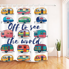 Kids Funny Happy Camper Car Travel Shower Curtain Bathroom White Waterproof Washable Polyester Fabric 12 Hooks For Bathtub Decor(China)