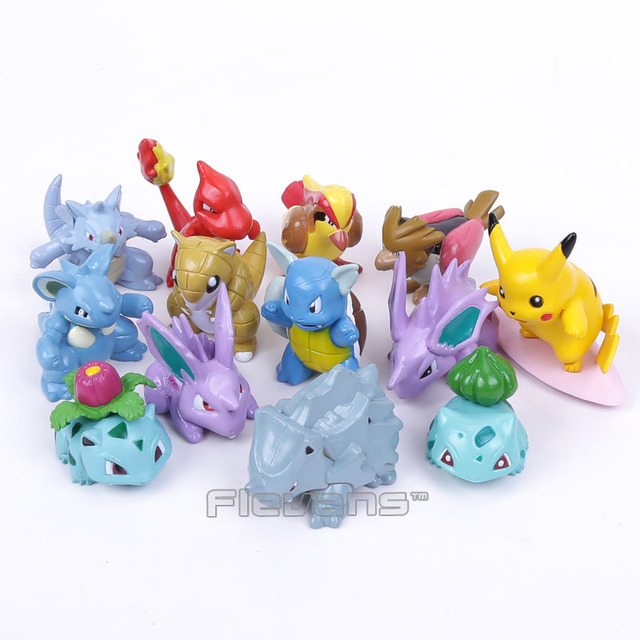 Monsters Go 13pcs/set Pikachu Bulbasaur Pidgey Charmander Nidoran PVC Figures Toys
