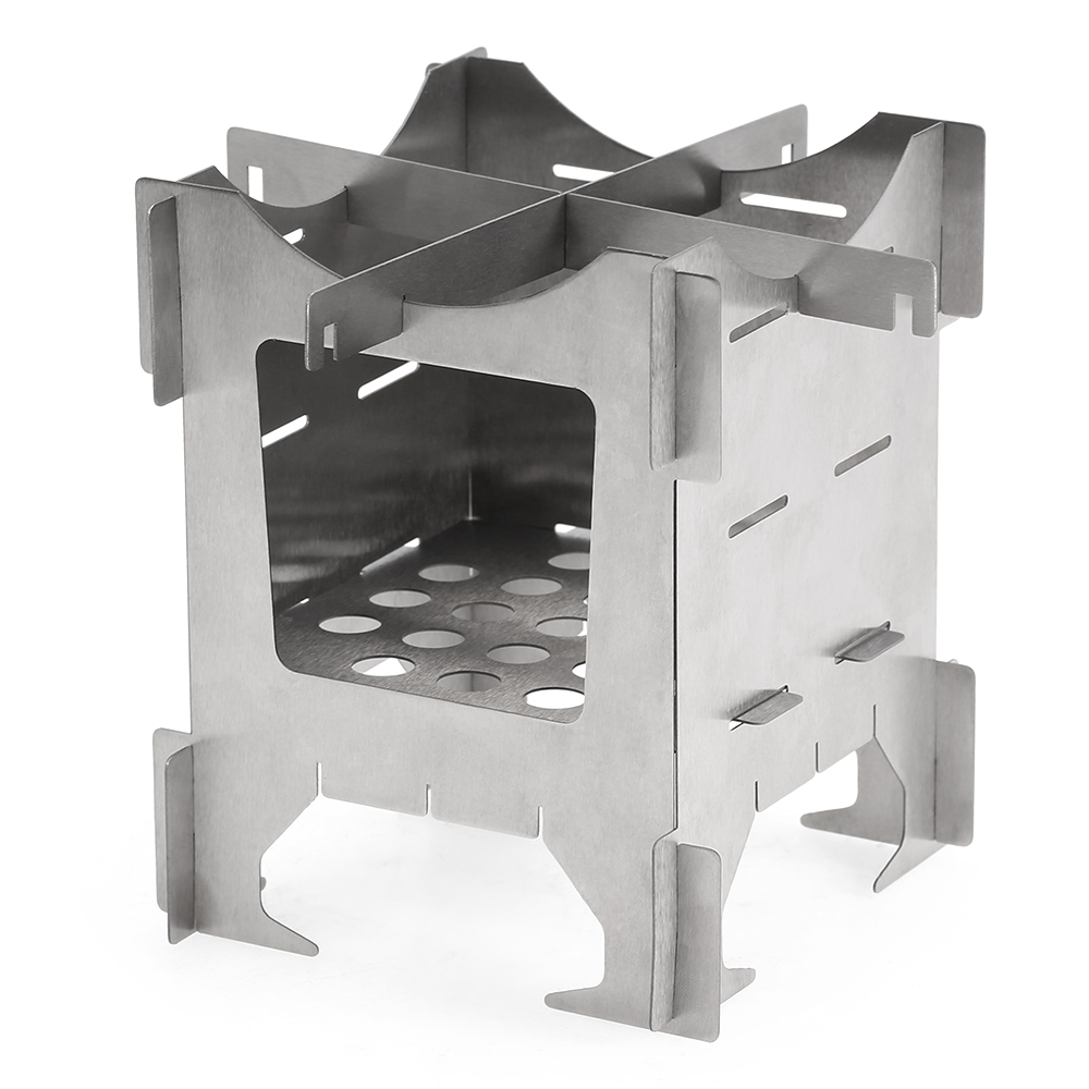 Image 2 - Lightweight Titanium Folding Wood Stove Outdoor Camping Stove Picnic Cooking Backpacking Furnace Outdoor Camping Stove-in Outdoor Stoves from Sports & Entertainment