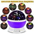2017 New Romantic New Rotating Lua Estrela Rotação Céu Projetor Noite Lâmpada de Projeção de Luz Da Lâmpada com alta qualidade Dos Miúdos Cama