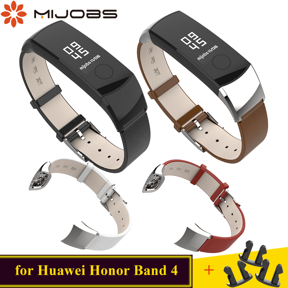 Mijobs Genuine Leather Strap for Huawei Honor Band 4 Strap Wristband Smart Band Replace Bracelet for Honor Band 4 Accessories