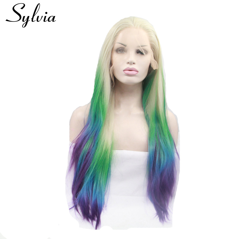Sylvia Blonde with Green Yellow Blue Purple Tips Ombre Silky Straight Synthetic Lace Front Wigs Heat