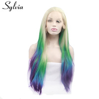 Sylvia Blonde Color With Green Yellow Blue Purple Tips Ombre Silky Straight Synthetic Lace Front Wigs