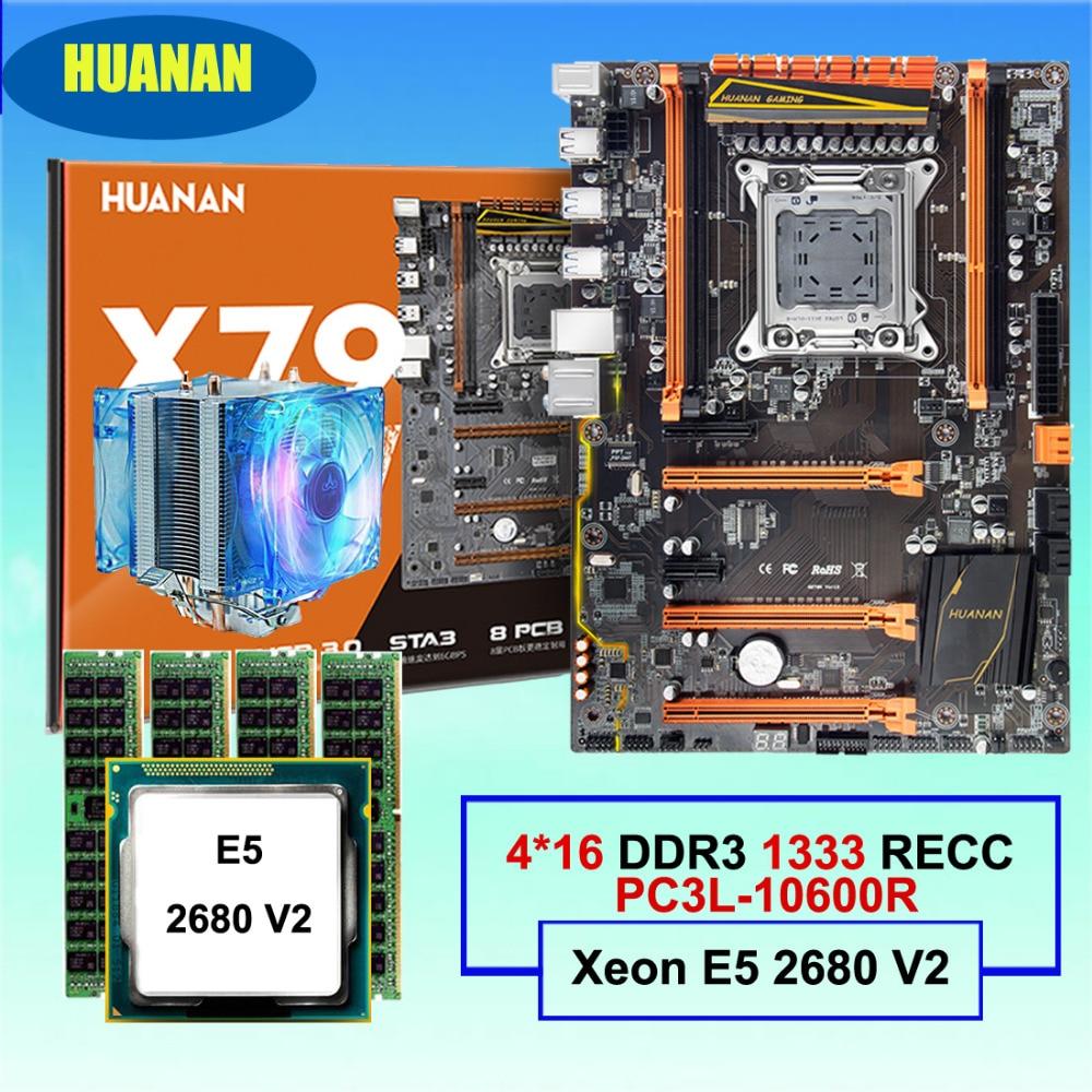 HUANAN ZHI deluxe X79 motherboard CPU RAM set discount motherboard with M.2 SSD slot CPU Xeon E5 2680 V2 RAM 64G(4*16G) REG ECC