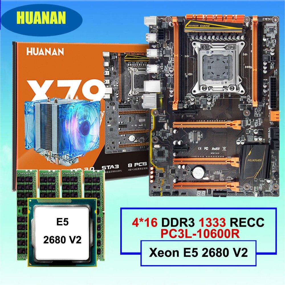 HUANAN ZHI deluxe X79 placa base CPU RAM conjunto descuento Placa base con M.2 SSD para CPU Xeon E5 2680 V2 RAM 64G (4*16G) REG ECC