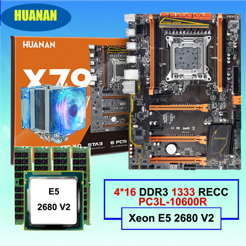 Hot HUANAN deluxe X79 motherboard CPU RAM combos with CPU cooler processor Xeon E5 2680 V2 RAM 64G(4*16G) 1333MHz DDR3 REG ECC huanan x79 motherboard cpu ram combos with cooler v2 49 x79 lga2011 processor xeon e5 2680 v2 ram 16g 4 4g ddr3 recc all tested