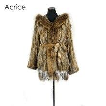 CR079 Натурального меха кролика пальто женщин зима теплая настоящее меховая куртка с енота меховым воротником плюс размер индивидуальные