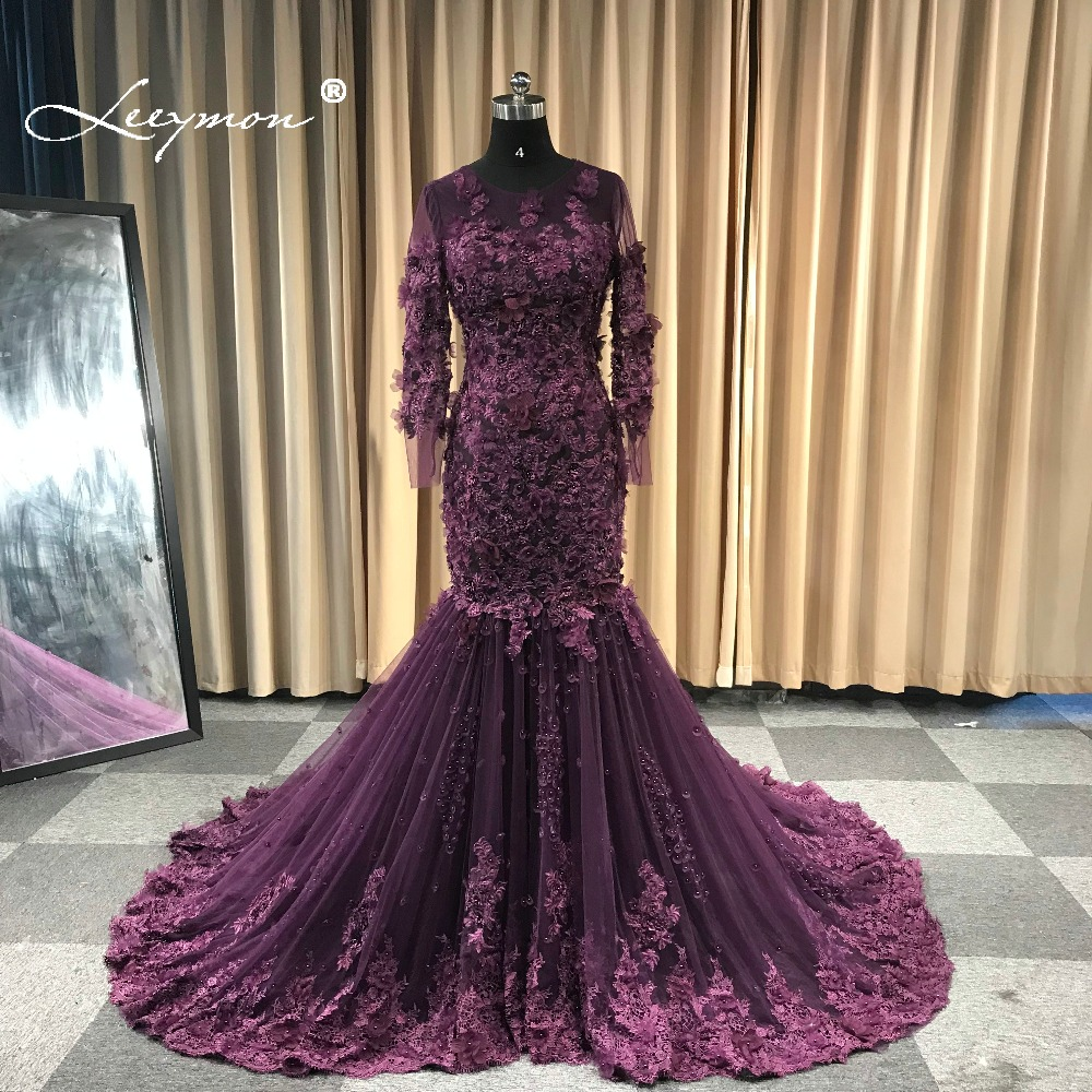 Leeymon Mermaid Long Sleeves Lace Tulle   Evening     Dress   Long Train Elegant Luxury   Evening   Gown 3D Flowers Vestido De Fiesta