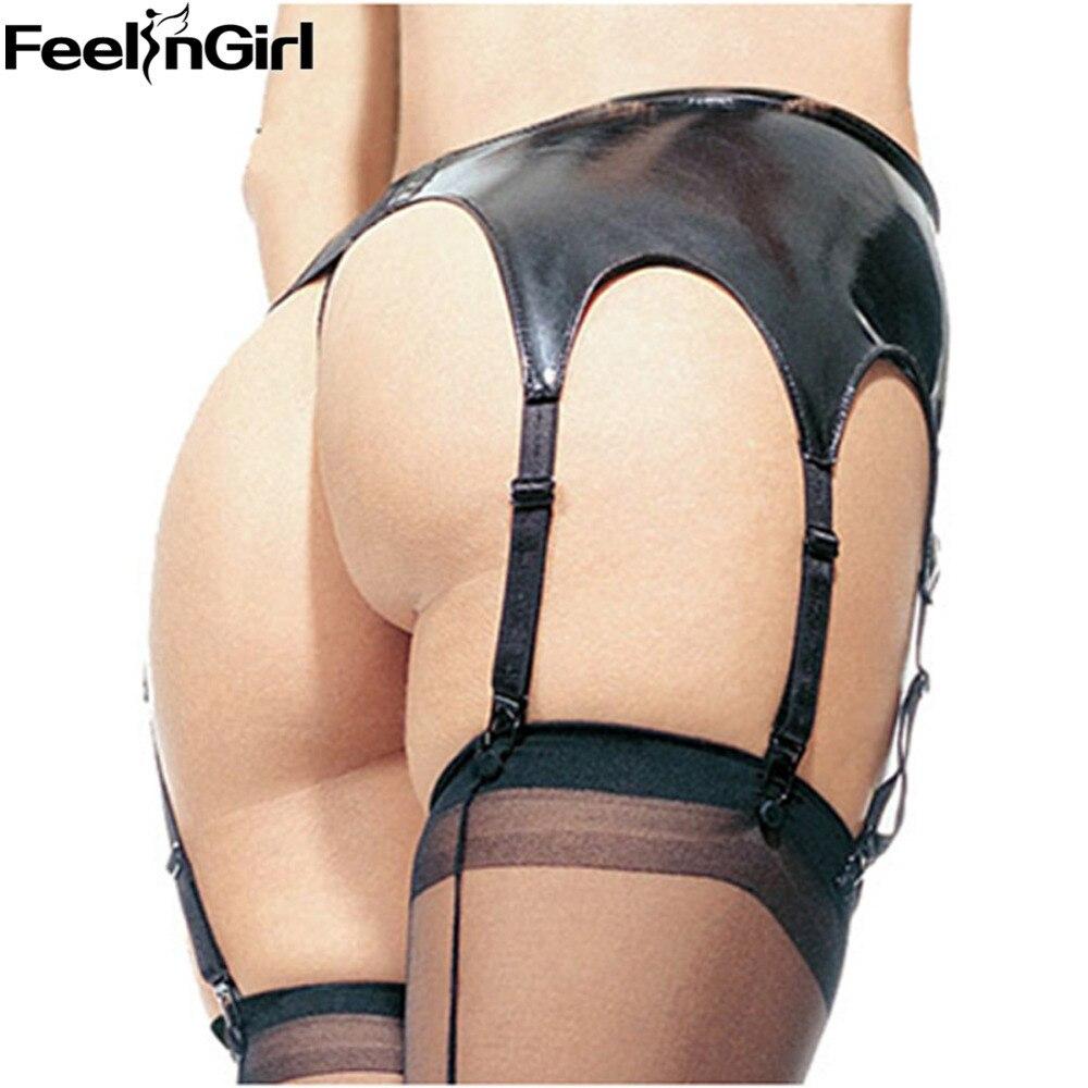 FeelinGirl Women Hot Sexy Black Faux Leather Garter Belt Suspender Latex 6 Strap Garter Belt E